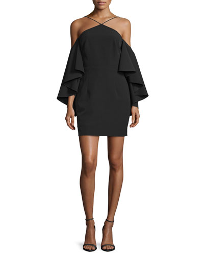 Cold-Shoulder Bell-Sleeve Ponte Dress, Black