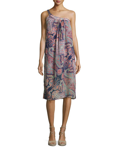 Kasbah Printed One-Shoulder Midi Dress