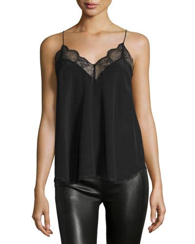 Silk Lace-Trim Camisole, Noir