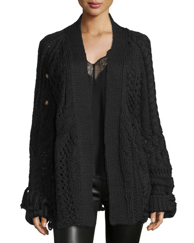Mixed-Knit Open-Front Cardigan, Noir