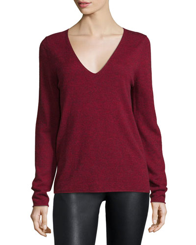 Melange V-Neck Pullover Sweater, Red