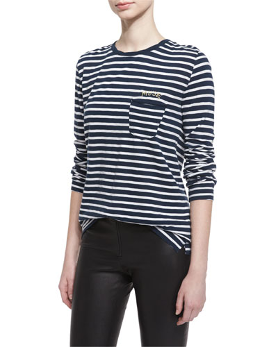 Long-Sleeve Striped Jersey Tee, Blanc/Mar