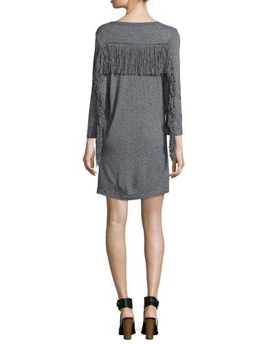 Long-Sleeve Fringe Jersey Dress, Gray