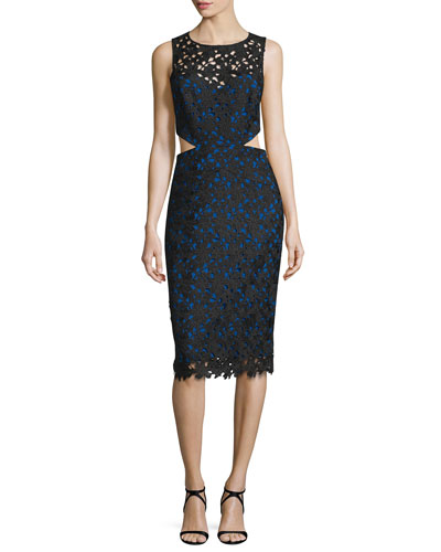 Venice Sleeveless Solid Lace Cutout Dress, Black/Cobalt