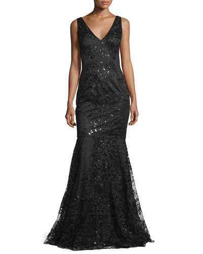 Sleeveless Beaded Embroidered Mermaid Gown, Black