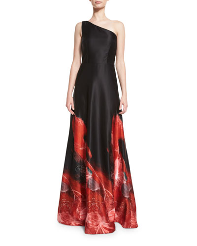 One-Shoulder Ombre Ball Gown, Black/Red