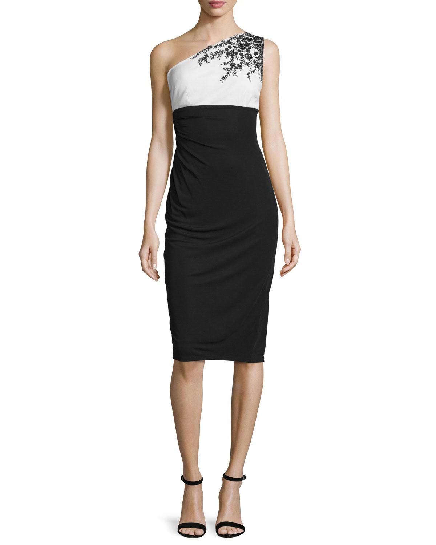 One-Shoulder Embellished Jersey Cocktail Dress, Black/White