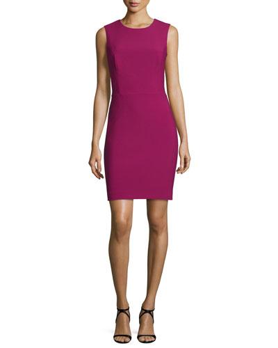 Ponte Cross-Back Sheath Dress, Rose Pink