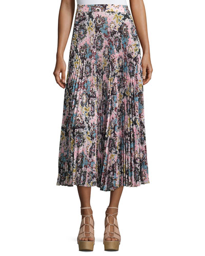 Williams Pleated Floral Midi Skirt, Blue/Mustard