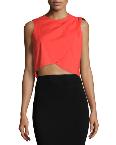 Stretch-Linen Layered Cropped Tank, Papaya