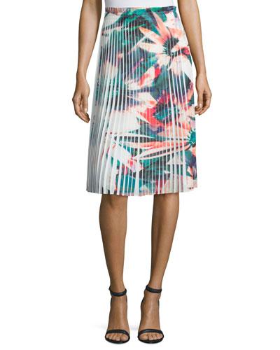 Pleated Floral-Print Skirt, White Multi