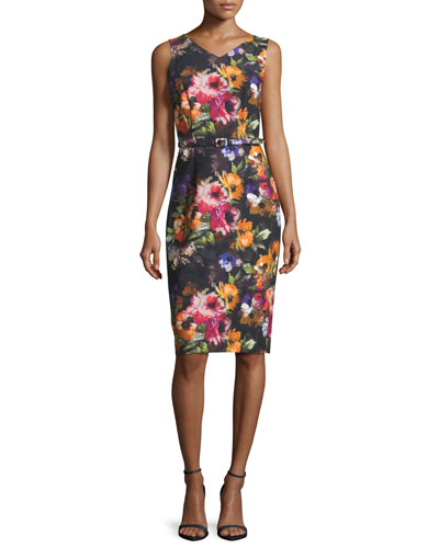 Sleeveless Floral Stretch Crepe Midi Dress, Black/Pink/Orange