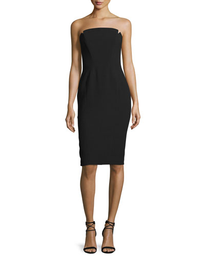 Strapless Structured Cocktail Dress, Black