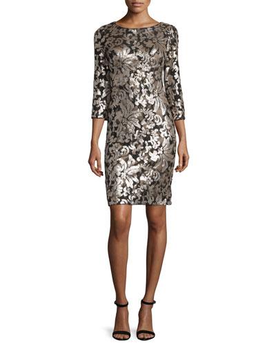 3/4-Sleeve Metallic Sheath Dress, Gold