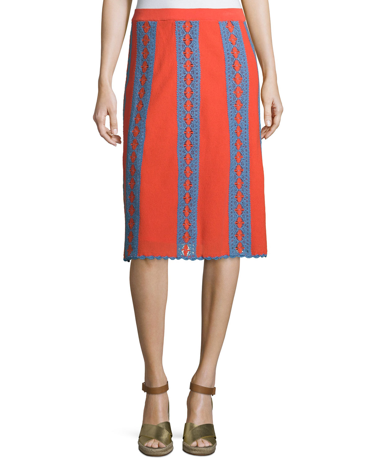Trista Crochet-Striped Midi Skirt, Poppy Red