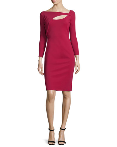 Asymmetric Cutout Sheath Dress, Granata