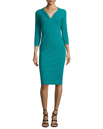 3/4-Sleeve Ruched Cocktail Dress, Verde Veronese