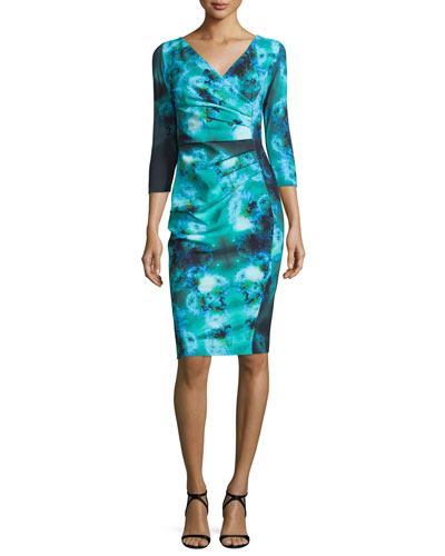 3/4-Sleeve Ruched Floral Cocktail Dress, Winter Blossom Blue