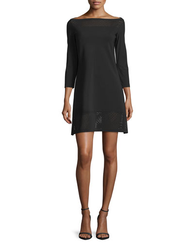 3/4-Sleeve Mesh-Trim Ponte Cocktail Dress