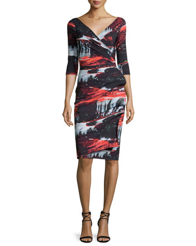 Flo Draped Abstract Cocktail Dress, Marte Black/Multicolor