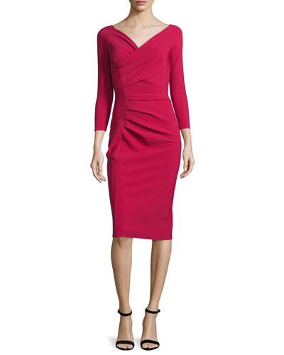 Noelle Ruched Surplice Sheath Dress, Granata