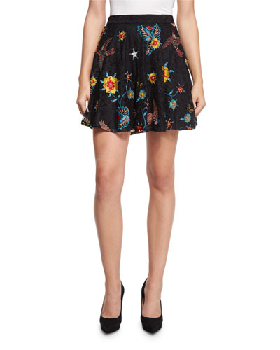 Blaise Floral-Embroidered Lace Mini Skirt