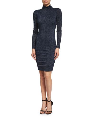 Dacey Long-Sleeve Turtleneck Dress, Harbor