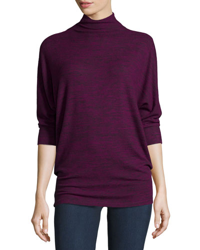 Eada 3/4-Sleeve Mock-Neck Top, Blackberry