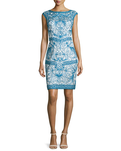 Cap-Sleeve Scroll Sheath Dress, Blue