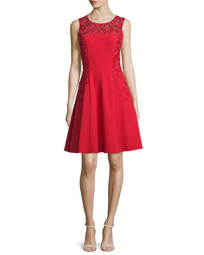 Sleeveless Scroll-Embroidered Dress, Red