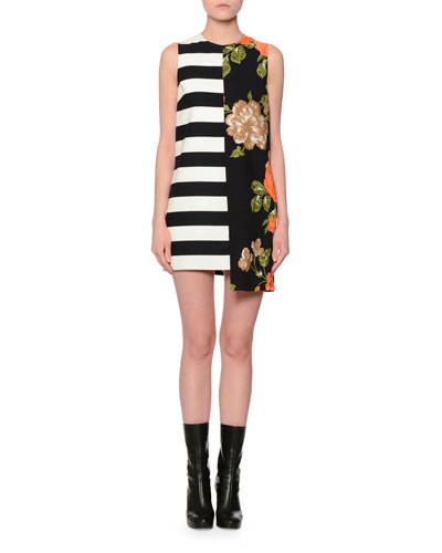 Sleeveless Floral & Stripe Shift Dress, Multicolor