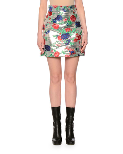 Metallic Rose Brocade Skirt, Silver/Multicolor