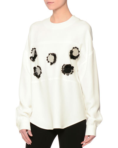 Long-Sleeve Mirror-Trim Crepe Cady Top, White