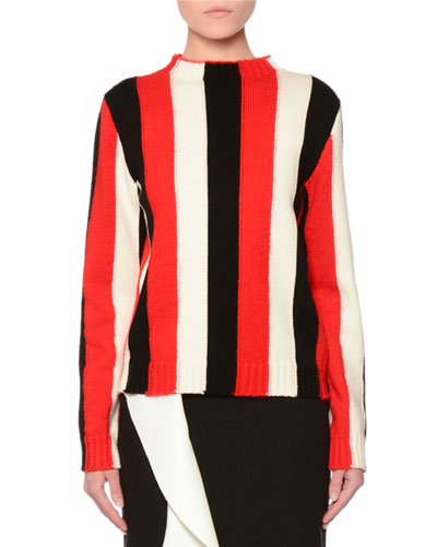 Striped Wool-Blend Pullover Sweater, Red
