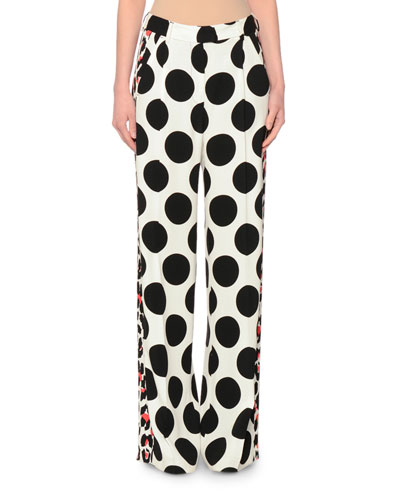 Polka-Dot Wide-Leg Pants, Black/White