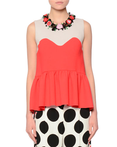 Sleeveless Frisottino Wool Illusion Top, Red