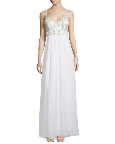 Sleeveless Embellished-Bodice A-Line Gown, White