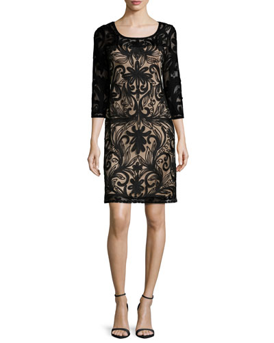 Embroidered 3/4-Sleeve Dress, Black