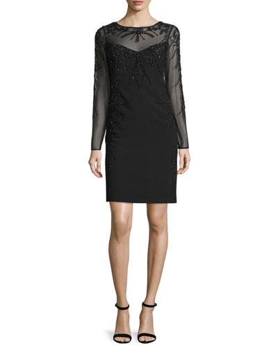 Long-Sleeve Embellished Dress, Black