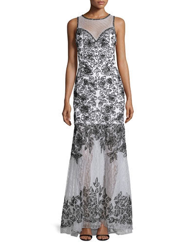 Sleeveless Embroidered Gown W/ Sheer Detail, White/Black