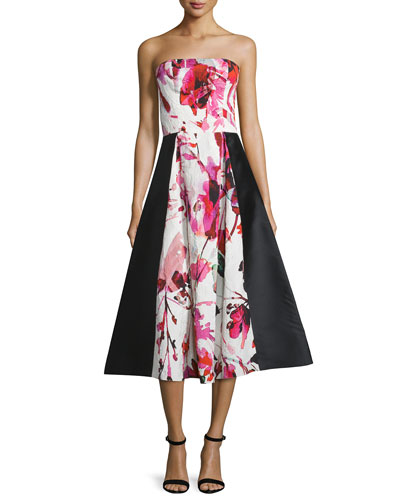 Gweney Floral-Print Bustier Midi Gown, Magenta