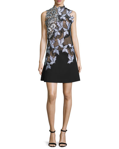 Lila Floral-Lace Mini Dress, Lilac