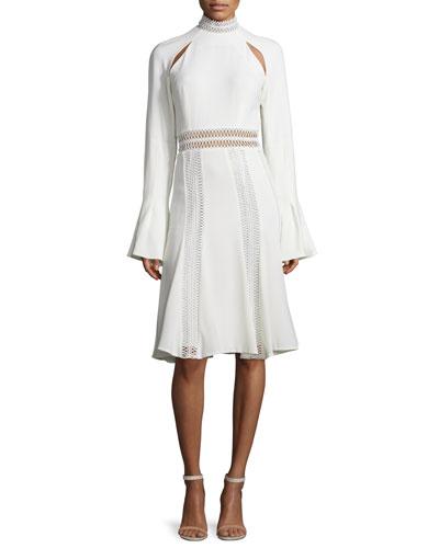 Trumpet-Sleeve Flare Dress, Ivory