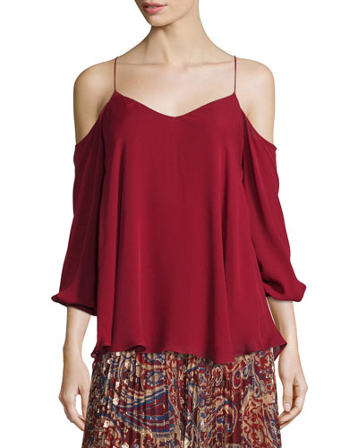 Cold-Shoulder Silk Chiffon Blouse, Ruby