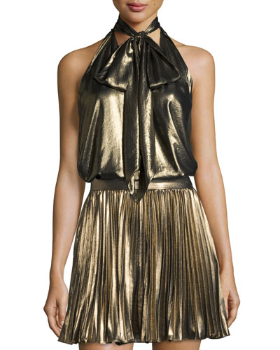 Metallic Tie-Front Halter Top, Gold