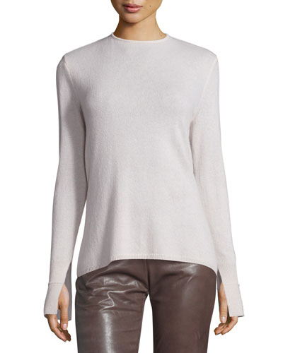 Long-Sleeve Cowl-Back Cashmere Sweater