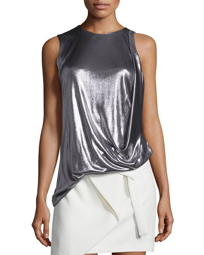 Sleeveless Draped Metallic Jersey Top, Gunmetal