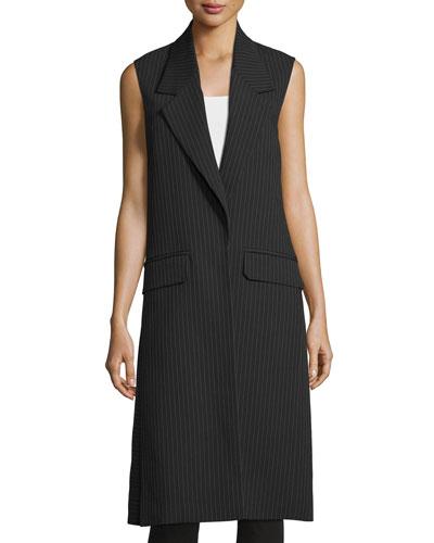Long Striped Vest, Navy/Gray