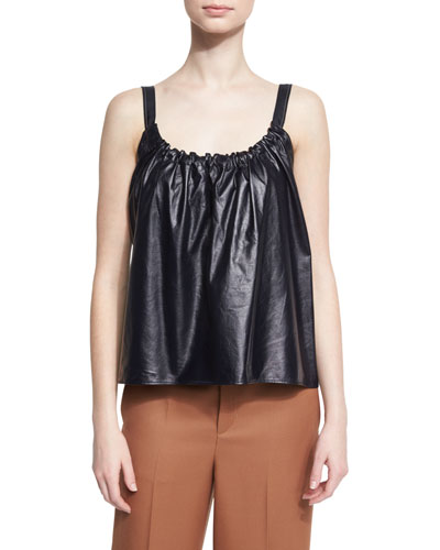 Smocked Leather Camisole, Navy