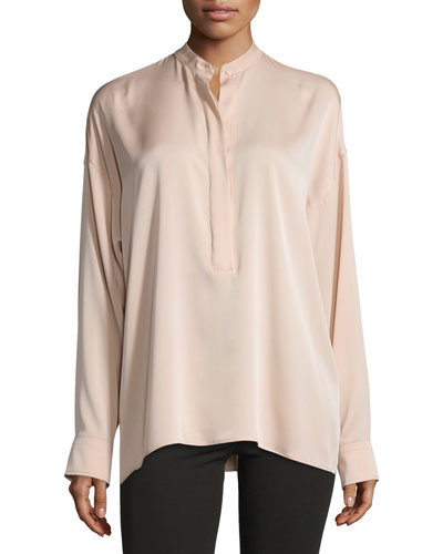 Tie-Back Stretch Silk Top, Blush